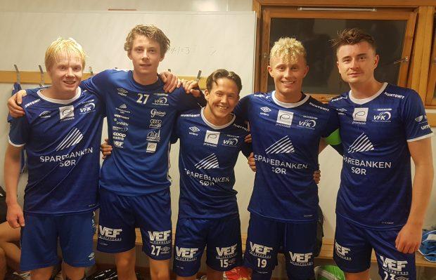 Debutant Mykland-Svendsen + målskårere Coldal, Gardiner, Aabel og Barstad Bergan