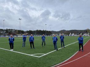 Fra venstre: Monica Kåsene Røraas (styremedlem), Svein Erik Slåen (styremedlem), Thomas Schie (Leder), Leif Sørensen (styremedlem), Harald H Hansen (styremedlem og æresmedlem), Halvor Homme (nestleder) og Vidar Ulstein (Vara og Æresmedlem).