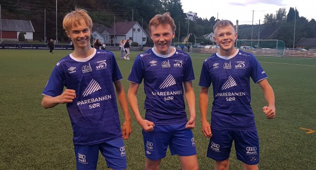 Målskårere fra venstre: Espen Sebastian Vårdal, Alexander Glastad, Mathias Kåbuland Vigsnes