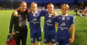 Tre debutanter (og Willy), Fredrik Bakken, Emil Lie og Conrad Elias Evenstad.